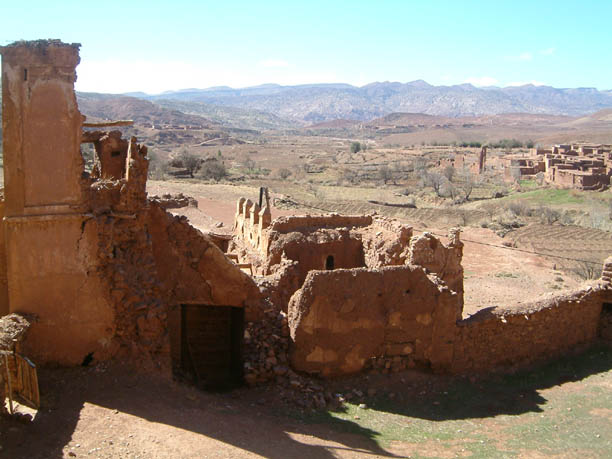 crumbling fortifications at Teleouet Kasbah