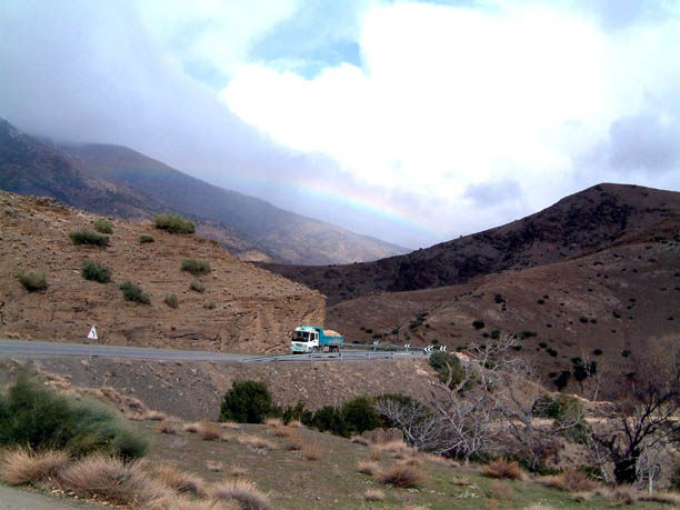 rainbow as we leave Teleouet Kasbah